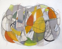 """Intersections 2, charcoal, pencil, watercolor, oil pastel, 22"""" x 28"""""""